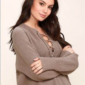 Lulu's DO+BE Yours Always Taupe Lace-Up Sweater